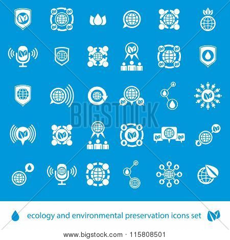 Ecology And Environmental Conservation Vector Icons Set, Unusual Stylish Symbols Set.