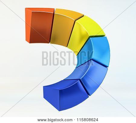 Volumetric Chromatic Array Logotype, Color Scale 3D Log