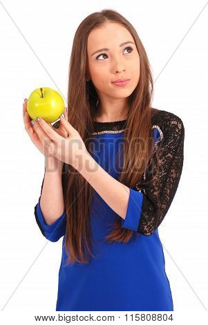 Young Girl Holding Red Apple
