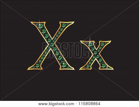 Xx In Emerald Jeweled Font With Gold Channels