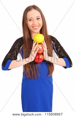 Young Smiling Brunette Girl Holding Three Apples