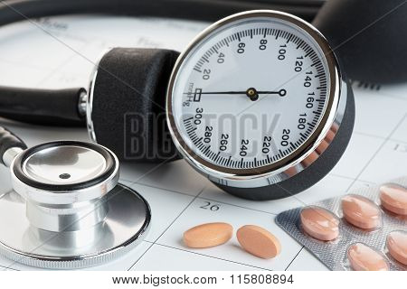 Tablets And Blood Pressure Meter On A Calendar