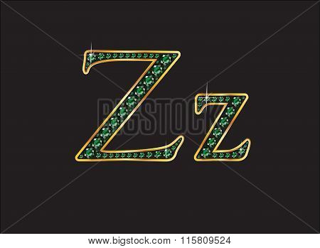 Zz In Emerald Jeweled Font With Gold Channels