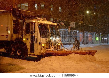 Snow Plow Plowing the Road manhattan