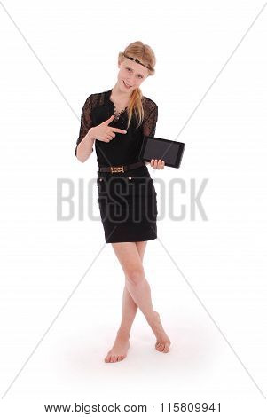 Girl Showing Finger On A Tablet Pc