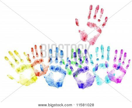 Color Print Of Human Hands.concept Of Voting