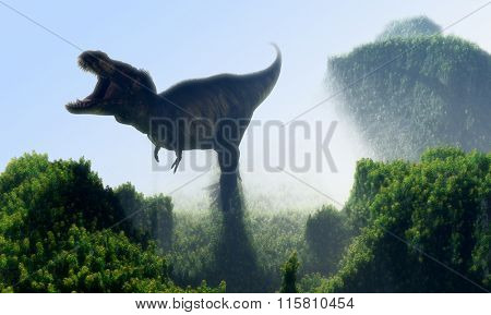 Giant dinosaur on a background of green landscape.