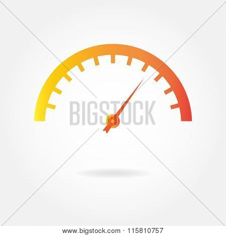 Speedometer icon with arrow. Colorful gauge element. Vector.