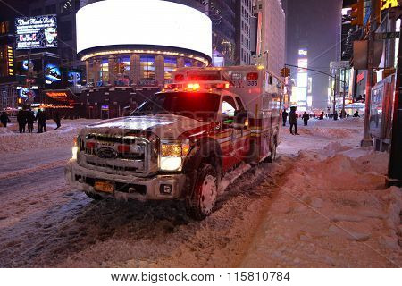 Ambulance NYFD in snow blizzard in new york
