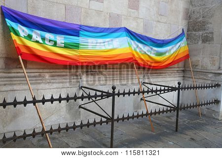 Rainbow Peace Flag During A Demonstration Of Italian Pacifists B