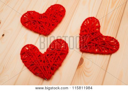 Valentines Day Background. Knitted Hearts