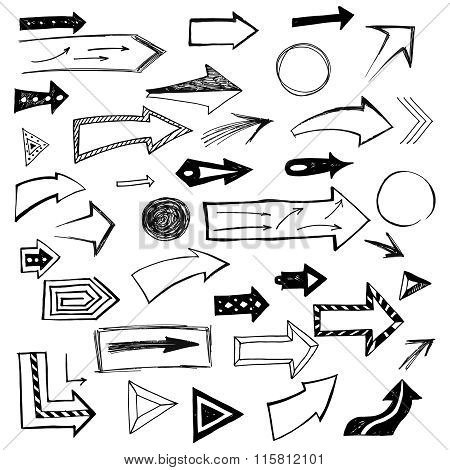 Set Of Handdrawn Arrows On White Background. Vector Illustration