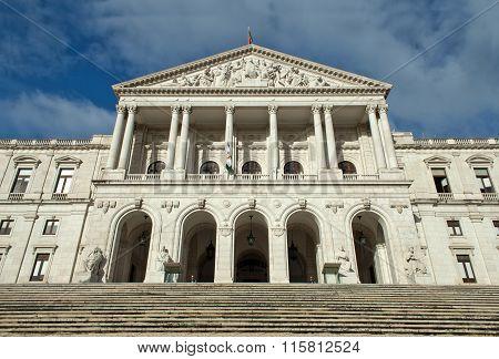 Portuguese Parliament Building, Palacio Da Asembleia Da Republica, Lisbon, Portugal. Front