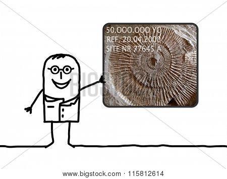 cartoon man paleontologist showing a fossil