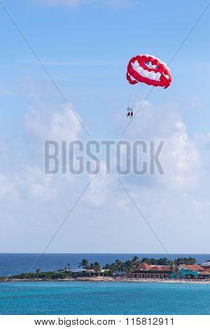 Parasailing Above Caribbean Sea