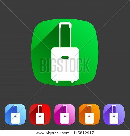 luggage suitcase bag icon flat web sign symbol logo label