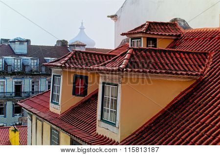 Red Tiled Roofs In The Old Town Of Lisbon In Portugal