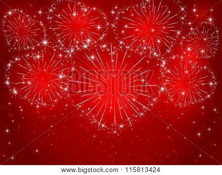 Firework With Hearts On Red Background