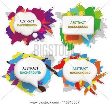 Set of Speech bubbles on paint stroke background. Vector illustration.