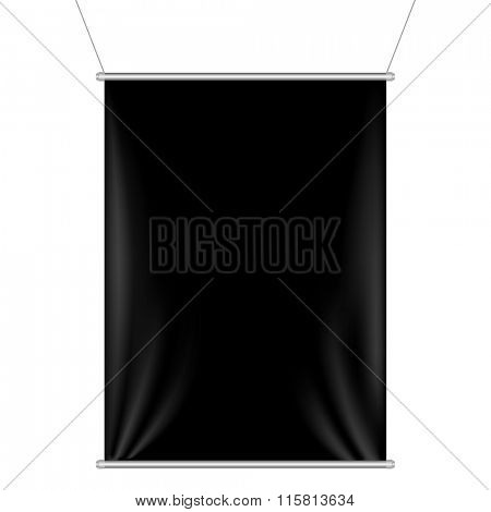 Black Banner With Gradient Mesh, Vector Illustration