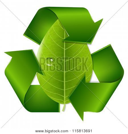 Recycle Symbol With Leaf With Gradient Mesh, Vector Illustration