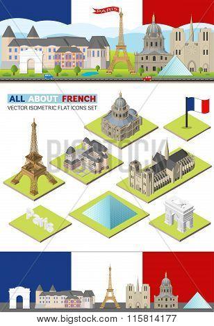 Vector France travel famous landmarks. Paris skyline set for web and mobile app. Flat, isometric bui