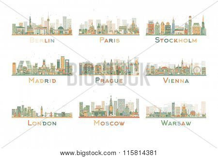 Set of 9 Abstract Europe City Skyline. Vector Illustration. Skyline with World Landmarks. Business travel and tourism concept. Image for presentation, banner, placard and web site.