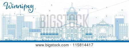 Outline Winnipeg Skyline with Blue Buildings. Vector Illustration. Business Travel and Tourism Concept with Modern Buildings. Image for Presentation Banner Placard and Web Site.