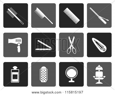 Flat hairdressing, coiffure and make-up icons