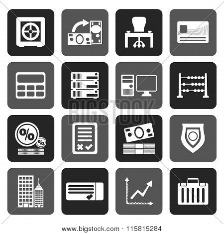 Flat bank, business, finance and office icons