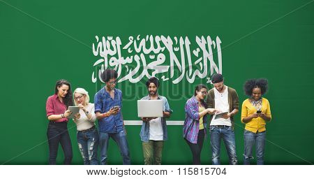 Saudi Arabia National Flag Studying Diversity Students Concept