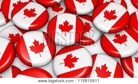 Canada Flag On Badges Background