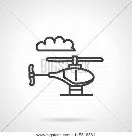 Toy helicopter simple line vector icon