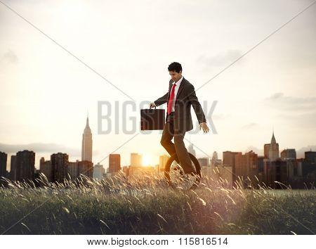 Businessman Commuting Ecology Saving Sunrise Concept