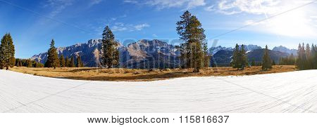 The Panorama Of Ski Slope With A View On Dolomiti Mountains, Madonna Di Campiglio, Italy