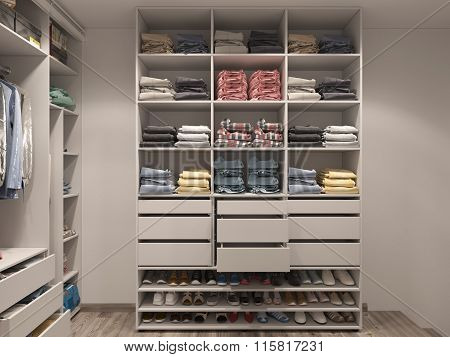 3D Visualization Of The Wardrobe Room In Light Tones