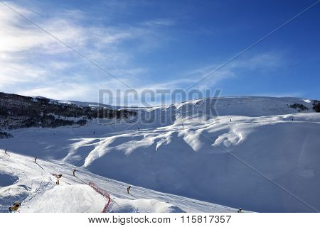 Ski Resort At Sun Evening