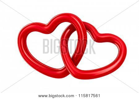 Two isolated heart on white background. 3D image