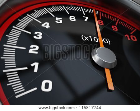 Engine Rrpm gauge pointing at 8000 rpm