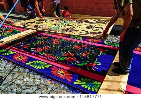 Making Holy Week Processional Carpets, Antigua, Guatemala