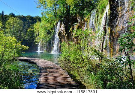 Boardwalk and waterfalls of Plitvice Lakes, Croatia