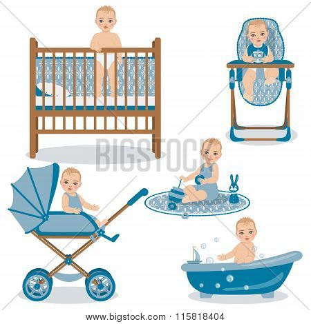 Cute Baby In Various Position Set.