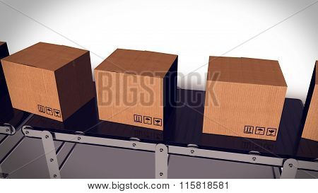 Packages Sorted On Conveyor Belt.