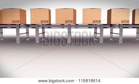 Shipping Boxes On A Conveyor Belt/ Shipping Merchandise.