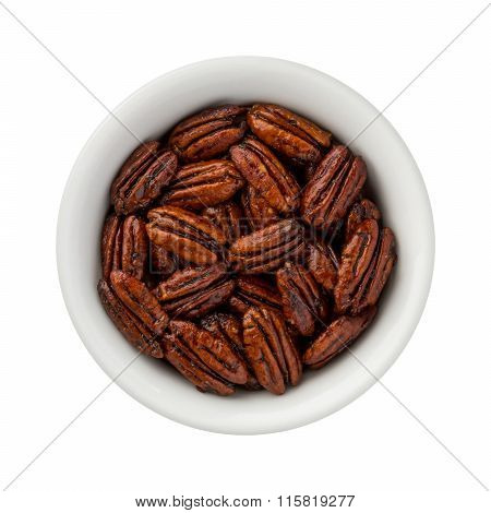 Caramelized Pecans In A Ceramic Bowl