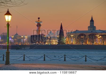 Vasilyevsky Island Saint-petersburg, Russia Sunset On Winter, New Year Decoration.