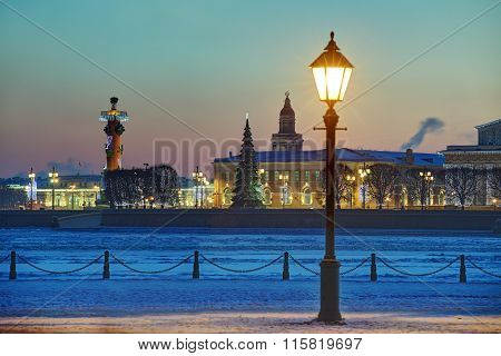 Christmas Decoration Of St. Petersburg, Russia, Winter Evening, Birzhevaya  square.