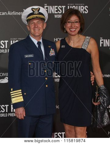 LOS ANGELES - JAN 25:  Commandant of the Coast Guard, Admiral Paul F. Zukunft and wife at the The Finest Hours World Premiere at the TCL Chinese Theater IMAX on January 25, 2016 in Los Angeles, CA