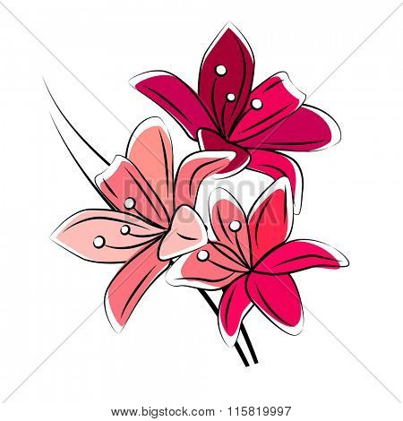 Stylized red lily isolated on white background