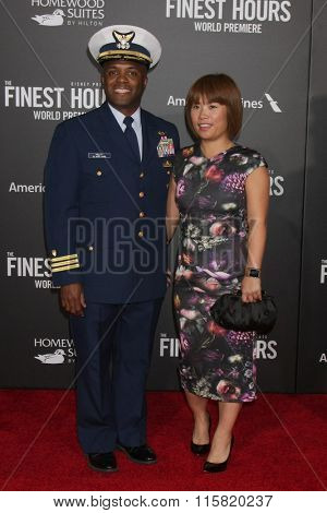 LOS ANGELES - JAN 25:  Commander John W. Pruitt, III; and wife at the The Finest Hours World Premiere at the TCL Chinese Theater IMAX on January 25, 2016 in Los Angeles, CA